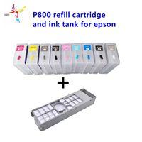 cartucho recargable 9pcs / set T8501-T8509 80ml con el chip permanente y depósito de mantenimiento 1pc para la impresora en color Claro SC P800