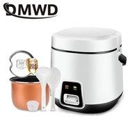 DMWD 1.2L Mini panela elétrica de arroz 2 camadas Aquecimento Steamer Multifunction Refeição Panela 1-2 Pessoas Lunch Box UE Plug EUA
