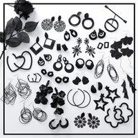 Fashion Retro Vintage Earrings Jewelry Simple Personality Black Geometric Star Circle Flower Stud Earring Gift for Women Girl