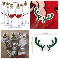 10pcs / lot Weihnachtsschmuck Hüte für Champagne-Glas-Schale aus Holz Rotwein-Glas-Karte Weihnachtsmann Weihnachten Elk Dekoration YYA491