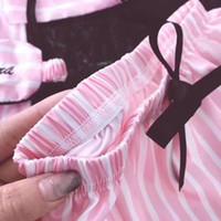 Pembe Çizgili Pijama İpek Saten Femme Pijama Takımı 7 adet Dikiş iç çamaşırı Robe pijama Kadınlar pijamalar 200919 pijama
