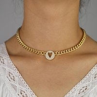 Gold Filled Round Heart Engraved Tag Chain Necklaces Jewelry Wide Curb Cuban Link Choker Women Necklace Chains