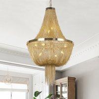 Lustres de design moderno Lamp Chandelier alumínio ATLANTIS corrente cristalina Living Room Hotel Iluminação LED E14 D55x75cm UPS