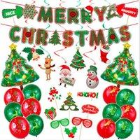50 مجموعة عيد الميلاد الأسرة فندق الديكور الحزب كارتون سانتا ثلج إلك البالونات مجموعة رقائق الألومنيوم شنقا راية بالون