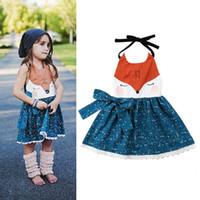 아기 소녀 만화 공주 드레스 여름 폭스 조끼 드레스 어린이 동물 놓은 드레스 키즈 꽃 Bowk 등이없는 홀터넥 드레스 S600