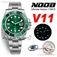 N V11 SA3135 Reloj automático para hombre Cerámica verde Bisel Green Dial 904L pulsera de acero Ultimat Versión Nuevo paquete ETA PTRX Puretime 04