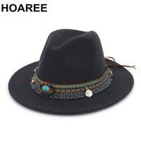 HOAREE cinzenta de Fedora Hat Vintage o chapéu de feltro Mulheres estilo étnico Casual Aba larga de lã Outono Inverno Cap 2020 New Trilby