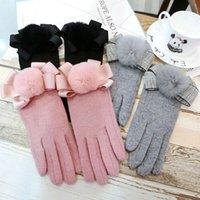 خمسة أصابع قفازات أزياء النساء السيدات القفازات الحرارية اصطف شاشات اللمس الدافئة الشتاء لطيف بوم أسود رمادي وردي