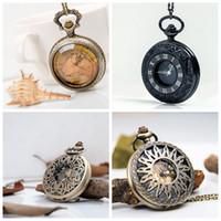 Novo grande chumbo preto exibição dupla Roman vintage relógio de bolso quartzo 47mm colar mulheres coreano edição camisola cadeia de moda relógio