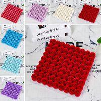81 pcs Sabão Rose Flower Head Artificial Caixa de Presente Decorações de Casamento DIY Handmade Dia dos Namorados Presentes W-00668