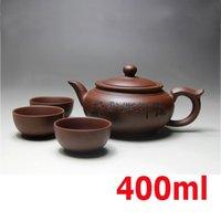 Venta superior Kung Fu Juego de té Yixing Tetera Hecho a mano Tea Pot Set de taza de té 400ml Zisha Cerámica China Ceremonia de té Bono de regalo 3 tazas 50ml T200227