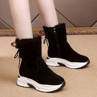 akexiya 2020women Snow Boots Мода Повседневная обувь Velvet меха снегоступы Черный Клин Коренастый кроссовки Fur Женщины Ботильоны