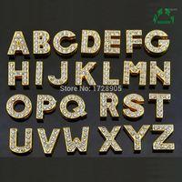 Charms a scorrimento dell'oro per gioielli facendo fascini strass ciondoli pendenti 10pcs cursore lettera cursore fascino alfabeto iniziale alfabeto di alfabeto1