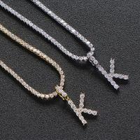 Hommes Zircon Nom Lettre initiale Tennis Colliers Pendentif Couleur Rose Or Argent Hip Hop bijoux pour les femmes avec la chaîne en acier inoxydable