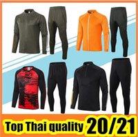 20/21 Erkekler Eşofman Tam Zip Ceket Futbol Spor Mavi Ayak Jogging 2021 Futbol Eğitim Takım Elbise