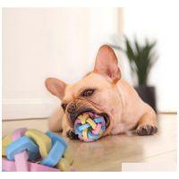 كلب صوت مطاطا مضغ الكرة متماسكة بلون مغقي طحن الأسنان الكرة فرشاة الأسنان يمضغ لعبة كرات التدريب pet المنتج الإرادة والرملية 4KN2X