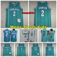 2021 Charlottes رجل شباب أطفال 2 Lamelo Ball كرة السلة جيرسي 1 Muggsy Bogues 2 Larry Johnson 30 Curry 33 Mourning Mitchell Ness Jersey