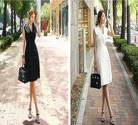 2020 Лета Корея Нового стиля двубортных Тонкие рукава средней длиной плиссированного костюм воротник платье для профессиональных дадут