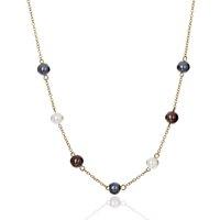 Кулонные ожерелья геометрических ювелирных листьев листьев и листьев узора позолоченные гавайские жемчужные ожерелье для женщин