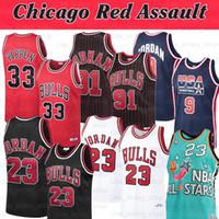 NCAA Michael Jersey 23 Dennis 33 Pippen Scottie 91 Rodman Chicago Kırmızı Assault Gerileme Basketbol Formaları