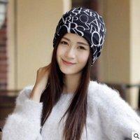 Mütze / Schädelkappen Frauen Winter Warm Hat Beanie Weibliche Mode Brief Flag Druckknowlien Casual Outdoor Maske Ski Leer Top Kragen