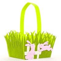 Cesta de Pascua Cock Conejito Impresión Coloful Huevo Dibujos animados Conejo No tejido Bolsa de asas Niños Regalos Egg Bucket Candy Basket Cesta Bolso GG12004