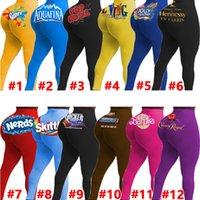 12 Renk Kadın Yoga Pantolon Seksi Ince Kişiselleştirin Desen Mektuplar Baskılı Tayt Bayanlar Yeni Moda Sıkı Pantolon Giyim 2020 DHL