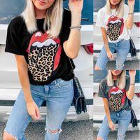 Femmes Tshirt Designer Léopard Lèvres Imprime T-shirts Mesdames Été Courbe d'équipage à manches courtes Leopard T shirts chemisier chemise Chemise Femme Tops Tees S-2XL