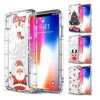 아이폰 12 미니 11 프로 최대 XR을위한 새로운 맑고 투명 휴대폰 케이스 8 7 6 플러스 커버 슬림 TPU 메리 크리스마스 만화 귀여운 케이스 XS