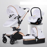 아기 유모차 신생 캐리지에 대 한 1 럭셔리 유모차 PU 가죽 높은 풍경 트롤리 자동차 360 회전 아기 pushchair 쉘