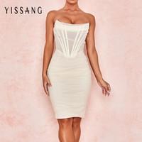 Yissang blanc sans bretelles sexy Bandage Mesh Robe mi-longue Femmes Encolure Doublé du Club Party Robes d'été élégant moulante Sundress