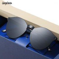 Sonnenbrille Siamese rahmenlose große runde Männer Frauen transparente Gelee Sonnenbrille Mode Gradient Eyewear 26 Farbe UV1