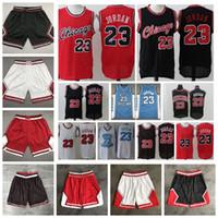 2020 Hombres Chicago Pantalones cortos NCAA Carolina del Norte Azul 23 Jersey Auténtico Costado Retro Malla clásica Michael Baloncesto Shorts Jersey