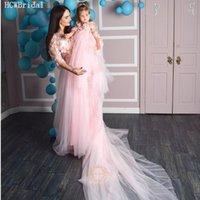Longo treinar rosa vestido de noite para mãe e filha v pescoço meia mangas gracioso laço tule mulheres grávidas casamento vestido de festa1