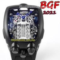 BGF 2021 أحدث المنتجات تشغيل سوبر 16 اسطوانة محرك الأسود الهاتفي ملحمة x كرونو cal.v16 التلقائي رجالي ووتش سوداء حالة الأبدية