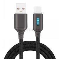 USB-Ladekabel Schnelle 2.1A Smart LED Fließende Streifen Geflochtene Zink-Legierung Typ-C-Micro-USB-Ladegerät Datenkabel für Samsung Huawei Handy