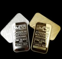 10 pz Moneta Ameriana non magnetica JM Johnson Matthey 1 Oz Pure 24k Real Gold Gold Argento Placcato barra di lingotti con diversi numeri di serie