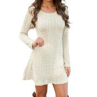 Нормов мода женщин осень осень зимний причинно-следственный свитер платье с длинным рукавом свободные свитера вязаные 5 цвет плюс платья размера