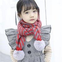Шарфы осень и зима детские шерстяные шарф дикие полосатые большие волосы шарики мужчины женщины детские вязаные теплые нагрудники набор оптом1