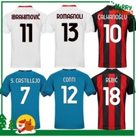 20 21 Milan Ibrahimovic 축구 유니폼 Paqueta Bennacer Romagnoli Calhanoglu 2020 2021 축구 셔츠 Tonali Remic Maillot Men + Kids Kit