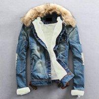 Artı Boyutu Kış Sıcak Denim Ceket Erkekler Giyim Kot Ceket Erkekler Rahat Dış Giyim Kürk Yaka Yün Kalın Giysi ile