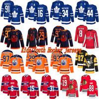 Junge / Kinder Trikots Edmonton-Öler 97 McDavid 93 Nugent-Hopkins Toronto Ahornblätter 91 Tavares 34 Matthäus 87 Crosby Hockey-Trikots