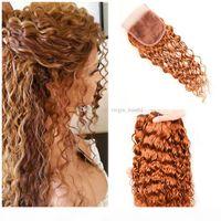 브라질 빛 Auburn 인간의 머리카락은 레이스 클로저 워터 웨이브로 짜기 # 30 붉은 갈색 4x4 레이스 폐쇄 젖은 물결 모양의 3 번들 거래