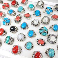 Сплавные бирюзовые кольца мода мода старинные покрытия серебряная атмосфера натуральный камень мужчина женщина кольца смешанный дизайн 1 8qk k2b