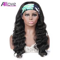 Allove 28 30inch Straight None Lace Wigs Loose Deep Curly Water Body Human Hair Wigs with Headbands for Black Women Natural Color