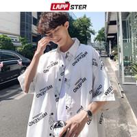Lappster Hombre Moda coreana Blanco 2020 Camisa de manga corta de verano Fit Regular Fit Vintage Letra Sleed Streetwear Camisas 5xl Q0109
