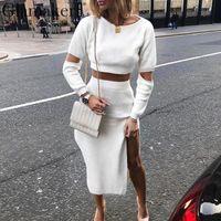 Glamaker Bianco elegante maglione a maglia maglione inverno abito donna scava fuori vestito a due pezzi vestito midi autunno sexy party bodycon dress y200102
