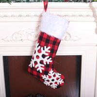 Бесплатная доставка Ткань красный и черный плед рождественские носки плюша мультфильм Симпатичные рождественские носки мешок подарков Рождественские украшения украшения F5803