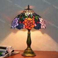 Lampada da tavolo Dia 30 cm europeo retrò vetro colorato in lega di alluminio Giardino rose 110V 220V E27 per soggiorno camera da letto camera da letto bar DHL