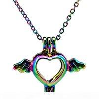 C59 Color de arco iris Mini Heart Wing Beads Cause Pendant Sesential Oil Difuser Aromaterapia Pearl Locket Colgante Collar
